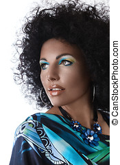 African style make-up - Sexy fashion model face with african...