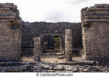 Remains of a Mayan Portal at Tulum - View into a Mayan ruin...