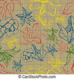 Pattern with spring flowers - Vector seamless floral pattern...