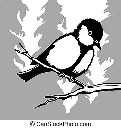 bird silhouette on wood background,