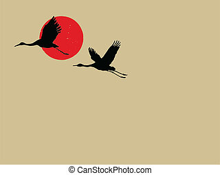 two cranes on brown background