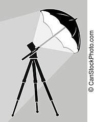 tripod silhouette on gray background,