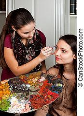 Make-up artist working