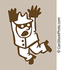 bandit silhouette on brown background,