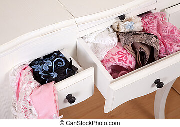 Drawers full of sexy lingerie - Vintage drawers filled with...