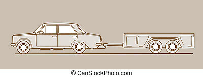 car with trailor on brown  background,