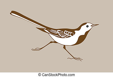 wagtail silhouette on brown  background,