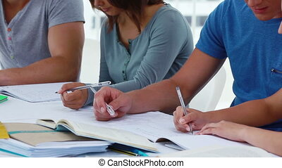 Students sitting together in front of notebooks in a bright...