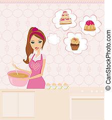 ama de casa, cocina, pastel