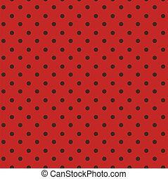 Polka dots red, black seamless