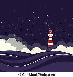 Lighthouse in night sea Vector illustration
