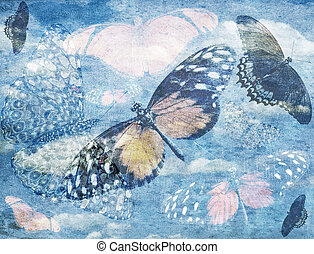 Abstract Butterfly Background - Abstract GrungeBlue...