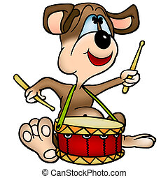 Dog  Drummer - Cartoon Illustration, Vector