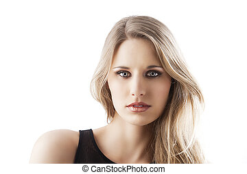 natural blond woman, she is in front of the camera