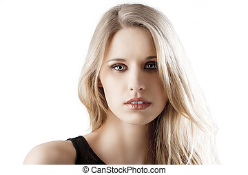 natural blond woman with mouth slightly open