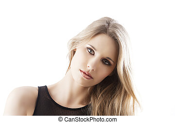 natural blond woman, her head is bent at left - beauty...