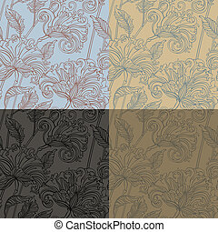 floral pattern - Seamless pattern with fantasy flowers. Four...