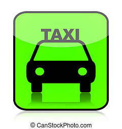 Taxi green icon - Taxi car sign icon isolated on white...