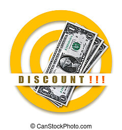 Discount special offer with dollars and target on white...