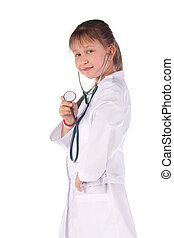 girl, a doctor, the child Children dressed as doctors,...