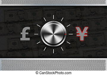 """Button Selector money sign """"POUND"""" , """"YEN"""" on the metal..."""