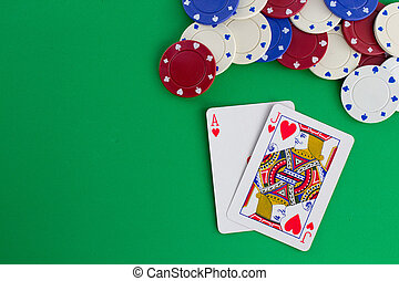 Blackjack against green background