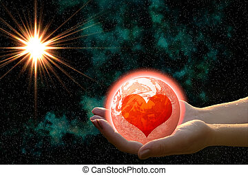 love planet in woman hands - abstract love planet in woman...