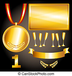 Gold elements for games and sports - Great sports and games...