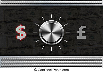 """Button Selector money sign """"DOLLAR"""" , """"POUND"""" on the metal..."""