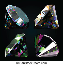 Set of jewelry gems on black background. Vector