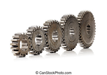 Cogs - A Row of old cog gear wheels in different sizes.