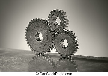 Old Cogs - Monochrome still life of three old cog gear...