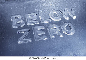 Below Zero - Words Below Zero made of real ice letters
