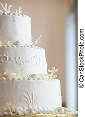 white wedding cake - white ocean themed wedding cake with...