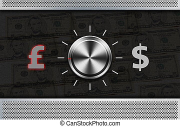 """Button Selector money sign """"POUND"""" , """"DOLLAR"""" on the metal..."""