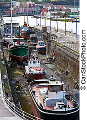 dry dock - old boats in dry dock