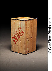 """Made in India - Old wooden crate with """"Made in India"""" text."""