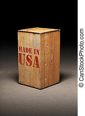 """Made in USA - Old wooden crate with """"Made in USA"""" text."""
