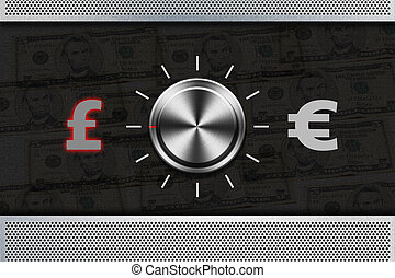 """Button Selector money sign """"POUND"""" , """"EURO"""" on the metal..."""