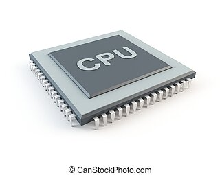 Computer CPU - 3D rendering of a computer CPU. Central...
