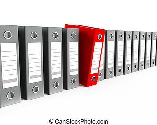 Binders - 3D rendering of a row of binders, one red