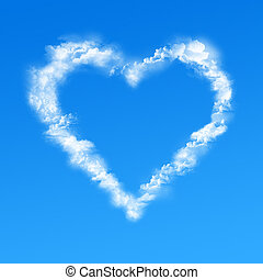 Heart clouds - 3D rendering of clouds forming a heart shape