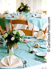 wedding tables with cookie favors