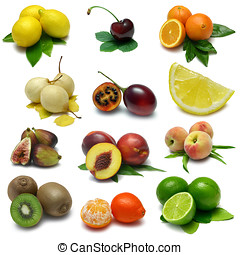 Fruit Sampler Two - A variety of isolated fruits, from top...