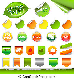 Spring Sale Set, Vector Illustration