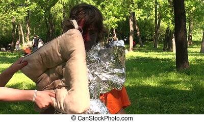 Children fight pillows