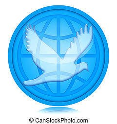 World Peace - Dove of peace and globe isolated on white...