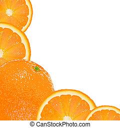 Orange Fruit Frame, Isolated On White Background, Vector...