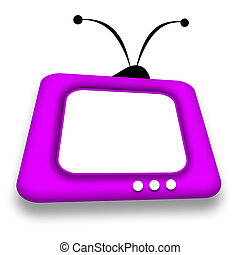 TV comic - TV set with blank screen illustration over white...
