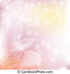 Fresh Lilia - Floral Background With Blooming Lilies, Vector...